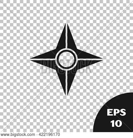 Black Japanese Ninja Shuriken Icon Isolated On Transparent Background. Vector