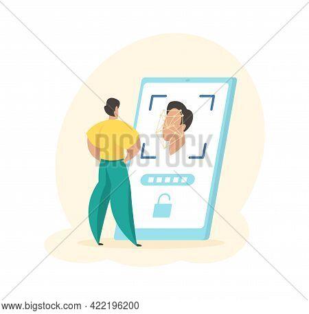 Mobile Application Identifies Users Face. Male Character Facial Digital Biometrics Log Into Personal