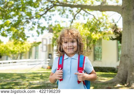 Back To School. Pupil Of Primary School On The Way To Study. Beginning Of Lessons. Boy Outdoors Near