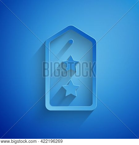 Paper Cut Military Rank Icon Isolated On Blue Background. Military Badge Sign. Paper Art Style. Vect