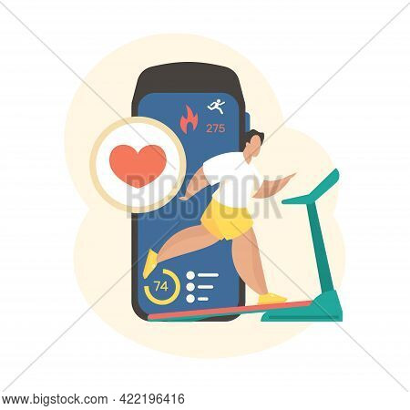 Smart Online Workout App. Man Runs Treadmill With Cardio Control Mobile Application. Digital Indicat