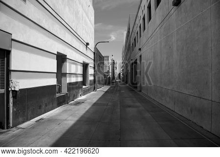 May 23, 2021 Santa Monica California: In an alley in Santa Monica California showing door ways, windows and more. Editorial.