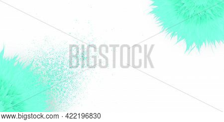 Bright Blue Abstract Blend Effect Flowers With Splash Of Color And Dust Isolated On White Background