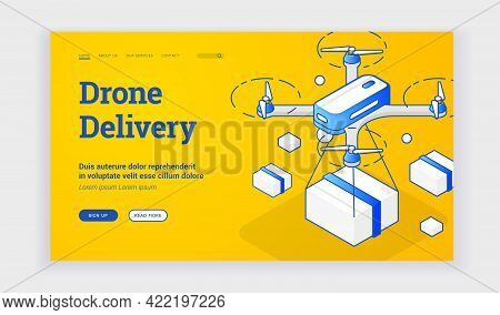 Vector Illustration Of Contemporary Drone Delivering Package Near Description And Link Button On Adv