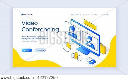 Vector Illustration Of Computer Monitor With People Avatars Near Description And Link Button On Bann