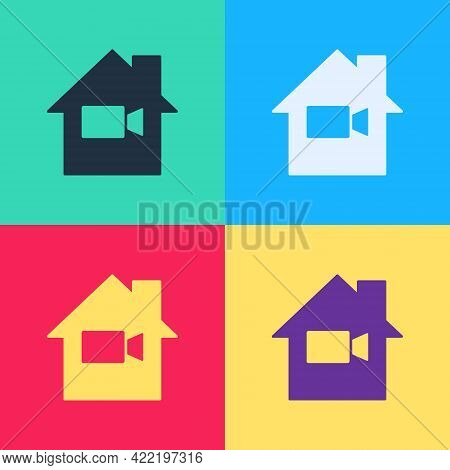 Pop Art Video Camera Off In Home Icon Isolated On Color Background. No Video. Vector