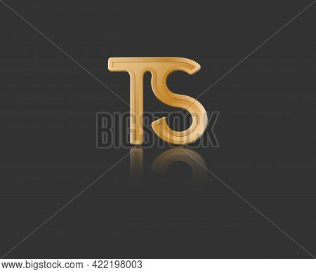 Gold Stylized Lowercase Letters T And S With Reflection Connected By A Single Line For Logo, Monogra