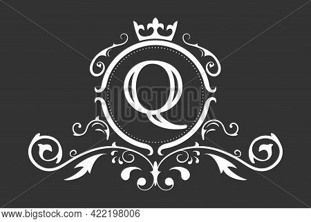 Stylized Letter Q Of The Latin Alphabet. Monogram Template With Ornament And Crown For Design Of Ial