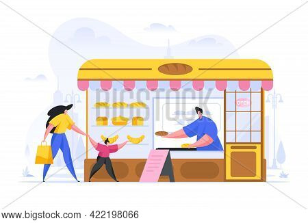 Flat Style Of Woman With Kid Buying Freshly Baked Bread Loaf From Local Vendor At Counter In Small S
