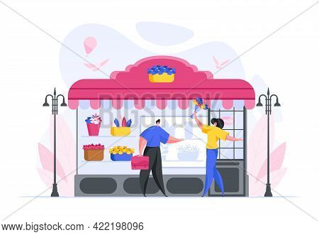 Flat Design Of Happy Female Florist Selling Bouquet Arrangement To Businessman At Entrance To Local