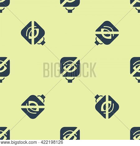 Blue Blindness Icon Isolated Seamless Pattern On Yellow Background. Blind Sign. Vector