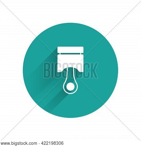 White Engine Piston Icon Isolated With Long Shadow. Car Engine Piston Sign. Green Circle Button. Vec