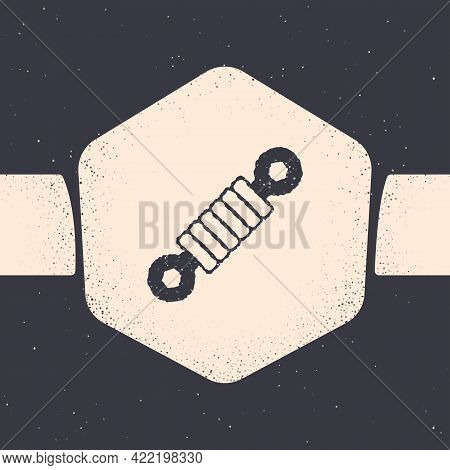 Grunge Shock Absorber Icon Isolated On Grey Background. Monochrome Vintage Drawing. Vector