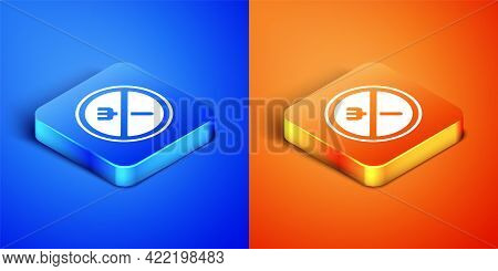 Isometric Ramadan Fasting Icon Isolated On Blue And Orange Background. Religious Fasting. Square But