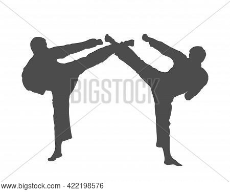 Silhouette Of Athletes. Karate Sparring. Vector Illustration, Flat Style.