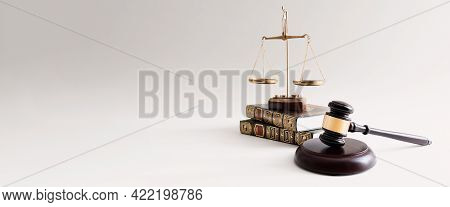 Law Concept With Wooden Gavel And Weight Scale. Lawyer, Attorney Template Background With Copy Space