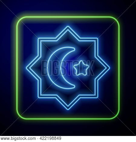 Glowing Neon Islamic Octagonal Star Ornament Icon Isolated On Blue Background. Vector