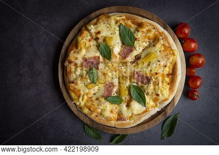 Tasty Pizza Homemade Italian Food Style, Pizza Cheese Ham And Pineapple Fruit Cooking Ingredients To