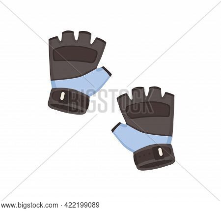 Short Fingerless Gym Gloves For Sports Exercises, Protection During Powerlifting Workout. Anti-slip
