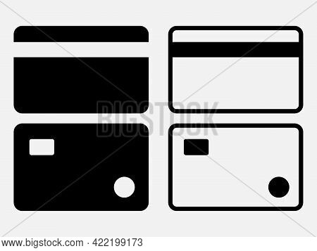 Set Of Bank Card, Credit Card Icon. Payment Sign. Vector Illustration.