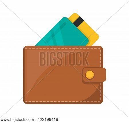 Wallet Icon. Wallet With Bank Cards. Vector Illustration.