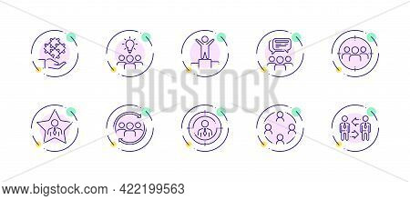 10 In 1 Vector Icons Set Related To Team Work Theme. Violet Lineart Vector Icons Isolated On Backgro