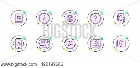 10 In 1 Vector Icons Set Related To Help And Support Theme. Violet Lineart Vector Icons Isolated On