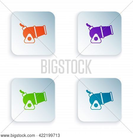 Color Cannon Icon Isolated On White Background. Medieval Weapons. Set Colorful Icons In Square Butto