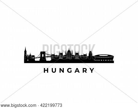 Vector Hungary Skyline. Travel Hungary Famous Landmarks. Business And Tourism Concept For Presentati
