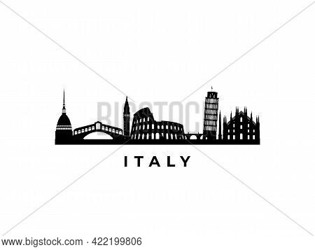 Vector Italy Skyline. Travel Italy Famous Landmarks. Business And Tourism Concept For Presentation,