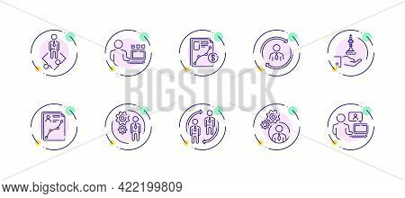 10 In 1 Vector Icons Set Related To Business Company Management Theme. Violet Lineart Vector Icons I