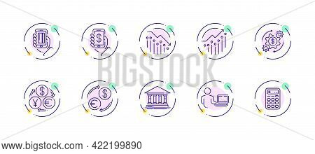 10 In 1 Vector Icons Set Related To Money Trade Theme. Violet Lineart Vector Icons Isolated On Backg