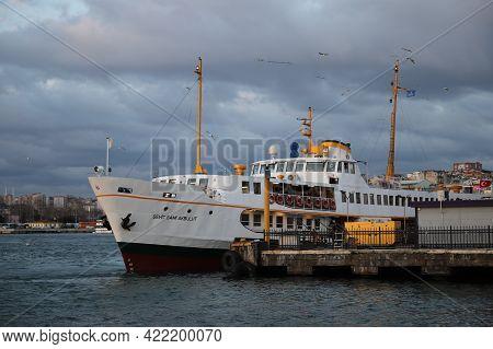 Istanbul, Turkey - March 25, 2021: Sehir Hatlari Ferry In Kadikoy Port. Sehir Hatlari Was Establishe