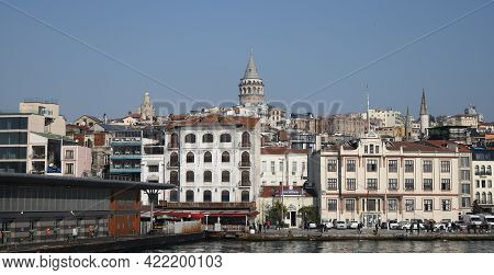 Istanbul, Turkey - March 03, 2021: Galata Tower In Karakoy District. Tower Was Built In 1348