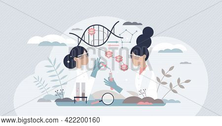 Epigenetics Research And Study Of Dna Gene Expression Tiny Person Concept. Work Scene With Phenotype