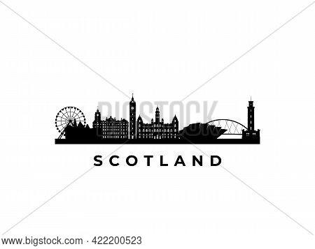 Vector Scotland Skyline. Travel Scotland Famous Landmarks. Business And Tourism Concept For Presenta