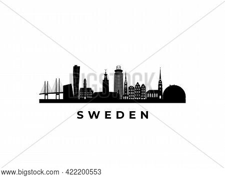 Vector Sweden Skyline. Travel Sweden Famous Landmarks. Business And Tourism Concept For Presentation