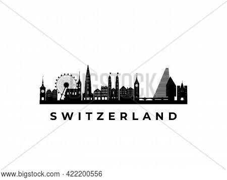 Vector Switzerland Skyline. Travel Switzerland Famous Landmarks. Business And Tourism Concept For Pr