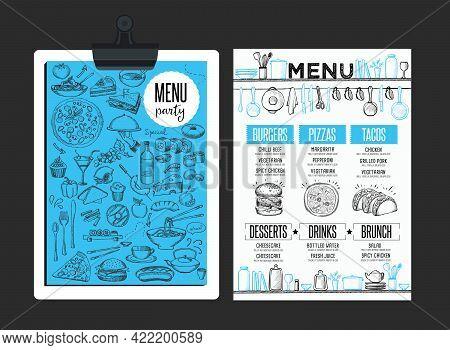 Cafe Menu Food Placemat Brochure, Restaurant Template Design. Creative Vintage Brunch Flyer With Han