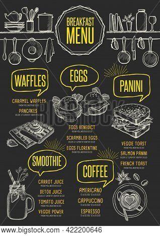 Breakfast Menu Placemat Food Restaurant Brochure, Template Design. Vintage Creative Dinner Flyer Wit