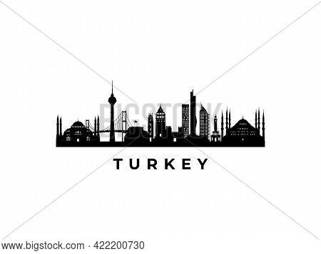 Vector Turkey Skyline. Travel Turkey Famous Landmarks. Business And Tourism Concept For Presentation