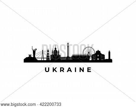 Vector Ukraine Skyline. Travel Ukraine Famous Landmarks. Business And Tourism Concept For Presentati