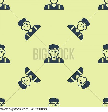 Blue Jeweler Man Icon Isolated Seamless Pattern On Yellow Background. Vector