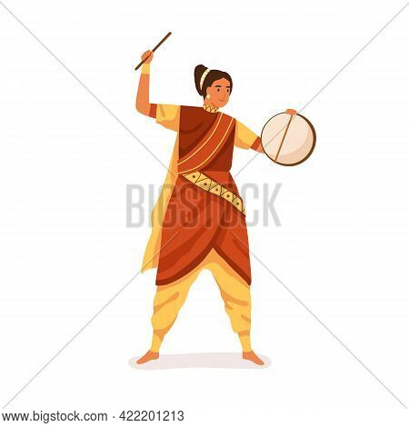 Indian Musician In Sari Performing Folk Music On Hand Drum With Stick. Woman Playing Ethnic Percussi