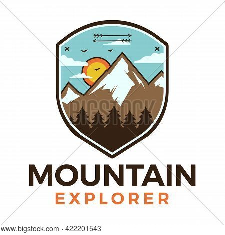 Mountain Explorer Logo, Retro Camping Adventure Emblem Design With Mountains And Trees. Unusual Line