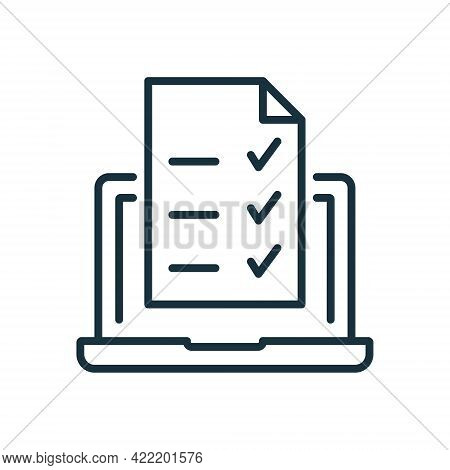 Online Exam, Taking Test, Questionnaire Or Checklist On Device Screen. Laptop With Online Form Surve