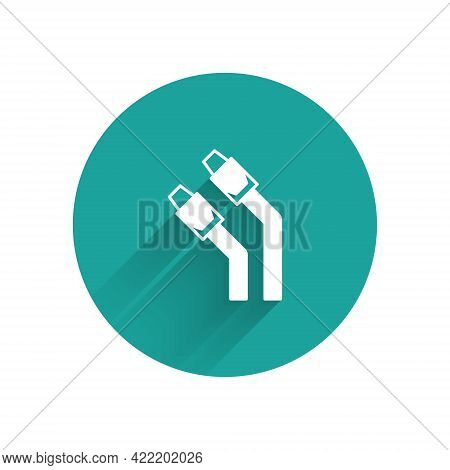 White Lan Cable Network Internet Icon Isolated With Long Shadow Background. Green Circle Button. Vec