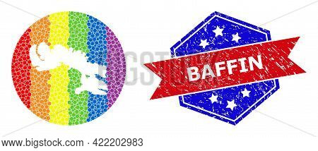Dot Spectrum Map Of Baffin Island Collage Formed With Circle And Carved Shape, And Scratched Stamp.