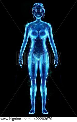 Silhouette, Hologram Of A Female Body In Blue Isolated On A Black Background. Medical Examination, U