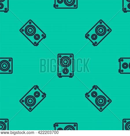Blue Line Stereo Speaker Icon Isolated Seamless Pattern On Green Background. Sound System Speakers.